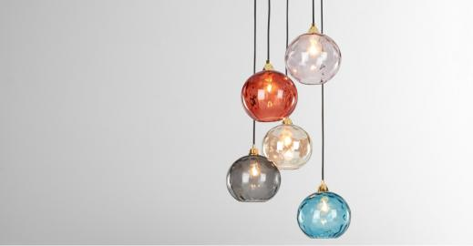 Ilaria, suspension multiple, verre multicolore et laiton