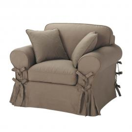 Fauteuil en coton taupe Butterfly