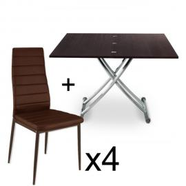 Table basse relevable Bois Wenge et lot de 4 chaises Marron