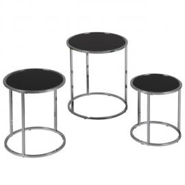 Tousmesmeubles Set de 3 tables gigognes - Karel - L 40 x l 40 x H 39