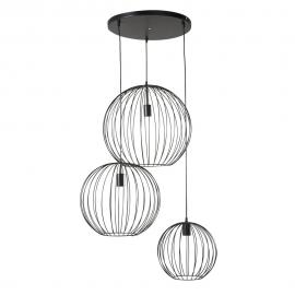Suspension 3 globes filaires noirs