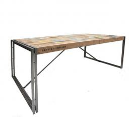 Tousmesmeubles Table de repas en bois rectangle 175 cm - Industry - L 175 x l 100 x H 78