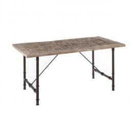 Design And Vintage Table à manger rectangle en bois et métal gris