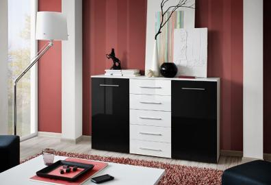 SB FOX 4 - black and white modern chest of drawers