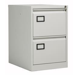 Bisley 2 Drawer Contract Steel Filing Cabinet - Goose Grey - AOC2G/G