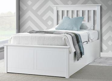 Bedmaster Francis White Ottoman Bed - Single (3' x 6'3)