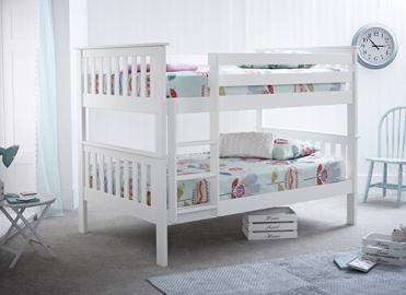 Bedmaster Oslo White Quadruple Bunk Bed - Small Double (4' x 6'3)