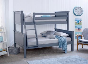 Bedmaster Ashley Grey Triple Sleeper Bed - Small Double (4' x 6'3)