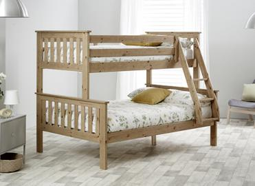 Bedmaster Carra Pine Triple Sleeper Bed - Small Double (4' x 6'3)