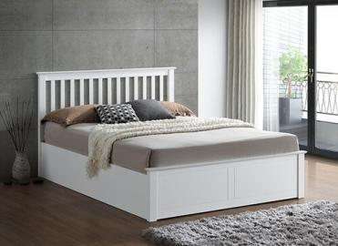 Bedmaster Malmo White Wooden Ottoman Bed - Small Double (4' x 6'3)