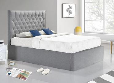Bedmaster Wilson Grey Fabric Ottoman Bed - Double (4'6 x 6'3)
