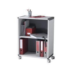 Fast Paper Mobile 2 Compartment Bookcase Grey/Charcoal - FDM2K211
