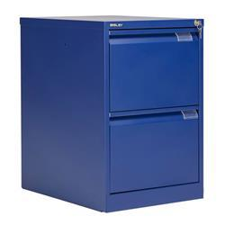 Bisley 2 Drawer Classic Steel Filing Cabinet - Blue - BS2E/BLUE