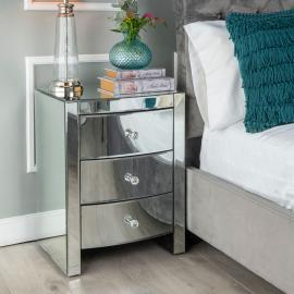 Urban Deco Curve Mirrored 3 Drawer Bedside Cabinet