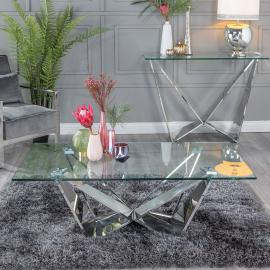 Urban Deco Jazz Coffee Table - Glass and Stainless Steel Chrome