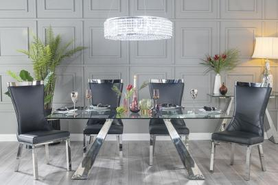 Buy Urban Deco Delta Glass and Chrome 200cm Dining Table with 4 Maison Black Chairs and Get 2 Extra Chairs Worth £358 For FREE