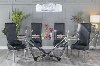 Buy Urban Deco Jazz Glass and Chrome 200cm Dining Table with 4 Allure Black Chairs and Get 2 Extra Chairs Worth £438 For FREE