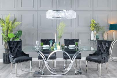 Buy Urban Deco Wave Glass and Chrome 200cm Dining Table with 4 Black Knockerback Chrome Leg Chairs and Get 2 Extra Chairs Worth £398 For FREE
