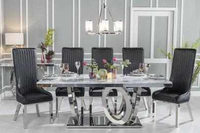 Buy Urban Deco Orbit Grey Marble and Chrome 200cm Dining Table with 4 Allure Black Chairs and Get 2 Extra Chairs Worth £438 For FREE