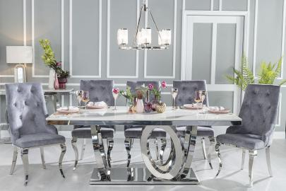 Buy Urban Deco Orbit Cream Marble and Chrome 200cm Dining Table with 4 Premiere Grey Knockerback Chairs and Get 2 Extra Chairs Worth £398 For FREE