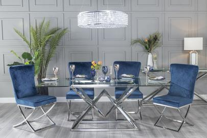 Buy Urban Deco Pyramid Glass and Chrome 200cm Dining Table with 4 Lyon Blue Fabric Chairs and Get 2 Extra Chairs Worth £438 For FREE
