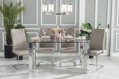 Buy Urban Deco Sophia Glass and Chrome 180cm Dining Table with 4 Malibu Beige Chairs and Get 2 Extra Chairs Worth £128 For FREE
