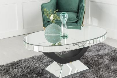 Urban Deco Art Deco Mirrored Oval Coffee Table