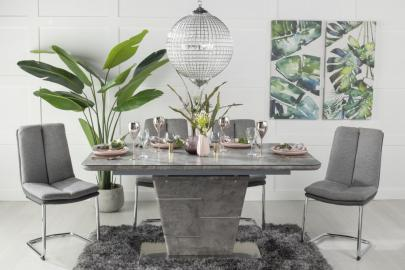 Buy Urban Deco Rimini Ceramic Effect Grey Glass 160-200cm Dining Table with 4 Tucson Grey Chairs and Get 2 Extra Chairs Worth £178 For FREE