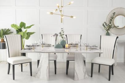 Buy Urban Deco Midas Grey and White Marble Double Pedestal 180cm Dining Table with 4 Cadiz White Chairs and Get 2 Extra Chairs Worth £298 For FREE