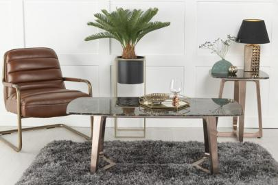 Urban Deco Aurora Coffee Table - Brown Marble and Stainless Steel Bronze
