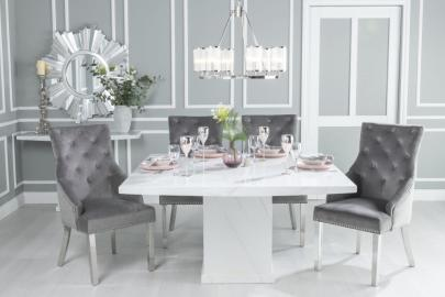 Buy Urban Deco Turin White Marble 140cm Dining Table with 4 Grey Knockerback Chrome Leg Chairs and Get 2 Extra Chairs Worth £398 For FREE