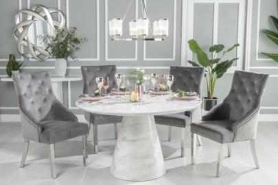 Buy Urban Deco Carrera White Marble Round Dining Table with 4 Grey Knockerback Chrome Leg Chairs and Get 2 Extra Chairs Worth £398 For FREE