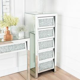 Gatsby Crystal Mirrored 5 Drawer Tall Chest