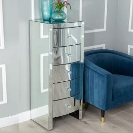 Fiore Mirrored 5 Drawer Tall Chest
