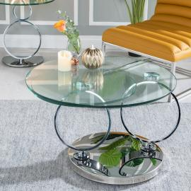 Gabor Rotating Glass and Stainless Steel Chrome Coffee Table