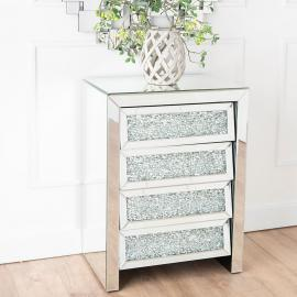Gatsby Crystal Mirrored 4 Drawer Midi Chest