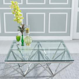 Glyden Glass and Stainless Steel Chrome Coffee Table