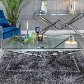 Helm Glass and Stainless Steel Chrome Coffee Table