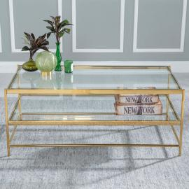 Islay Glass and Stainless Steel Gold Coffee Table