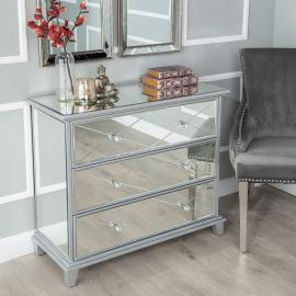 Merek Mirrored 3 Drawer Wide Chest