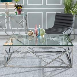 Moneen Glass and Stainless Steel Chrome Coffee Table