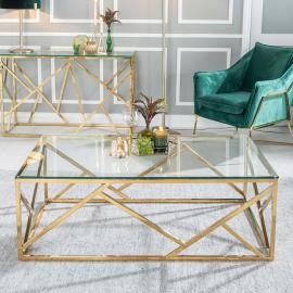 Moneen Glass and Stainless Steel Gold Coffee Table