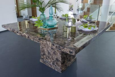 Prague Brown Marble 140cm Square Dining Table