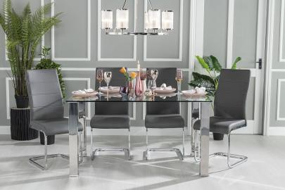 Sovana Glass and Stainless Steel Chrome 140cm Dining Table with Mercury Grey Faux Leather Chairs