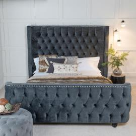 Super Star Grey Fabric Upholstered 6ft Queen Size Bed