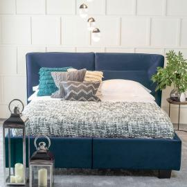 Tosca Blue Velvet Fabric Upholstered 4ft 6in Double Bed