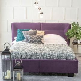 Tosca Purple Velvet Fabric Upholstered 4ft 6in Double Bed