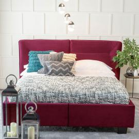Tosca Red Velvet Fabric Upholstered 4ft 6in Double Bed