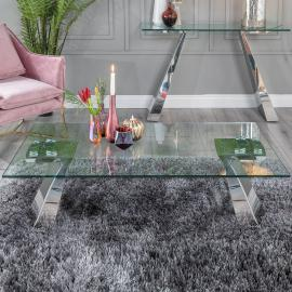 Urban Deco Delta Coffee Table - Glass and Stainless Steel Chrome