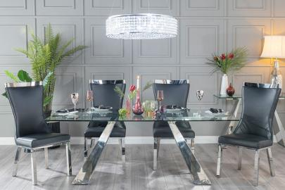 Urban Deco Delta Dining Table - Glass and Stainless Steel Chrome